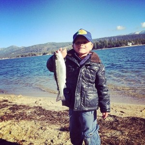 "Dax Wood, aka ""the fish whisperer"", Fishing Big Bear Lake"
