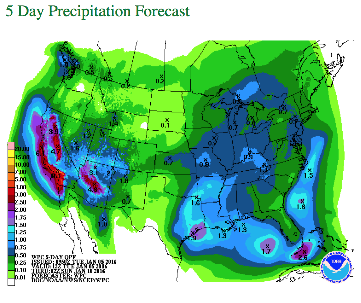 5 Day Precipitation Forecast provided by Snow Summit