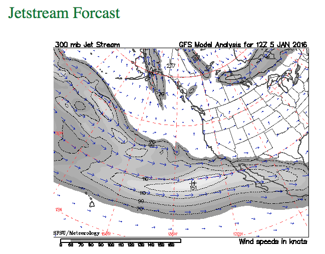 Jetstream Forecast provided by Snow Summit